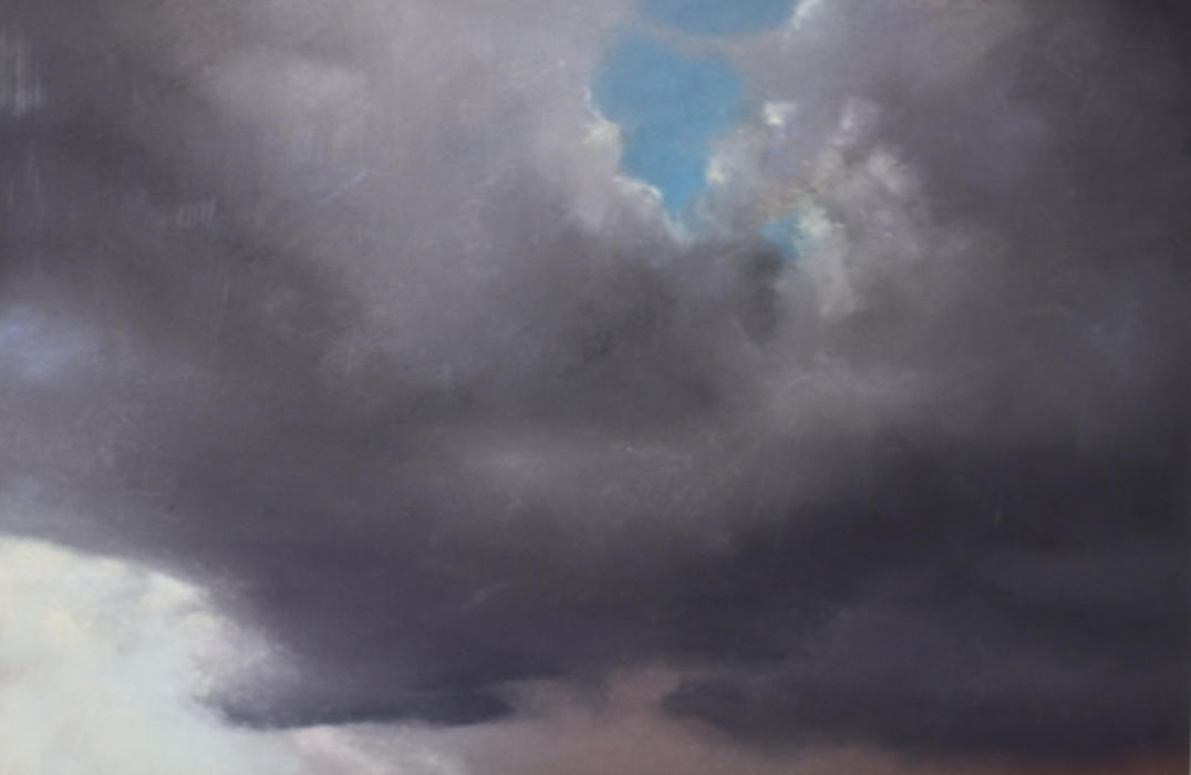 """""""Gray Skyscape,"""" 2009, pastel on sanded paper. 7.5 x 11 inches."""