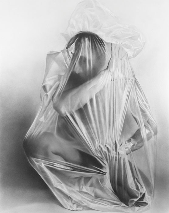 """Man in Plastic Bag #6,"" 1995, graphite powder and pencil on paper. 25½ x 20 inches. Smithsonian American Art Museum, gift of F. Steven Kijek. Photo © Smithsonian American Art Museum."
