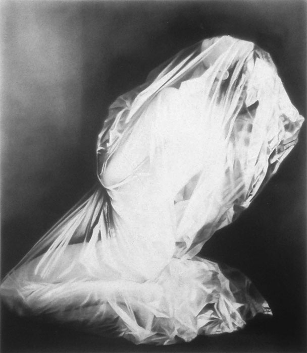 """Man in Plastic Bag #9,"" 1996, graphite on paper. Private collection."