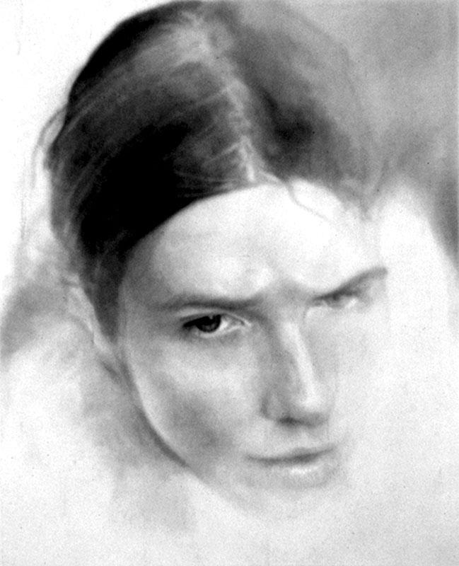 """""""Self-portrait,"""" 1972, graphite on paper."""