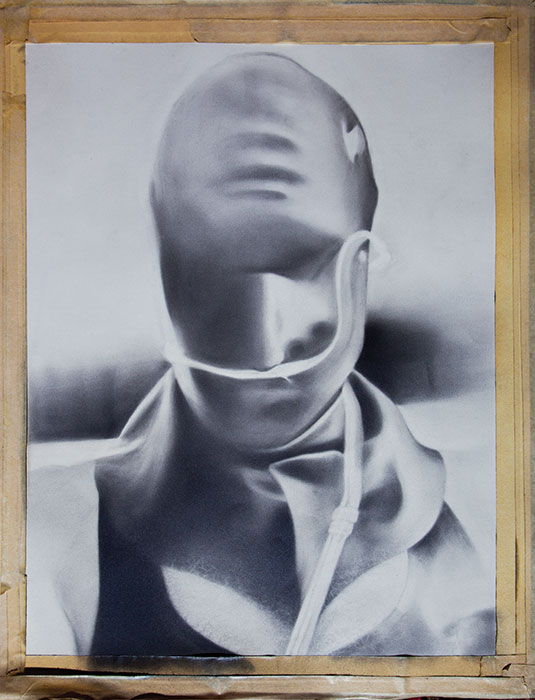 """Steve in Rubber Mask (unfinished),"" 2001, graphite on paper. 28 x 21 inches. Estate of Manon Cleary."