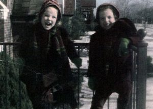 Manon Cleary with her twin sister, Shirley, 1949. Photo © Eilene Maret.