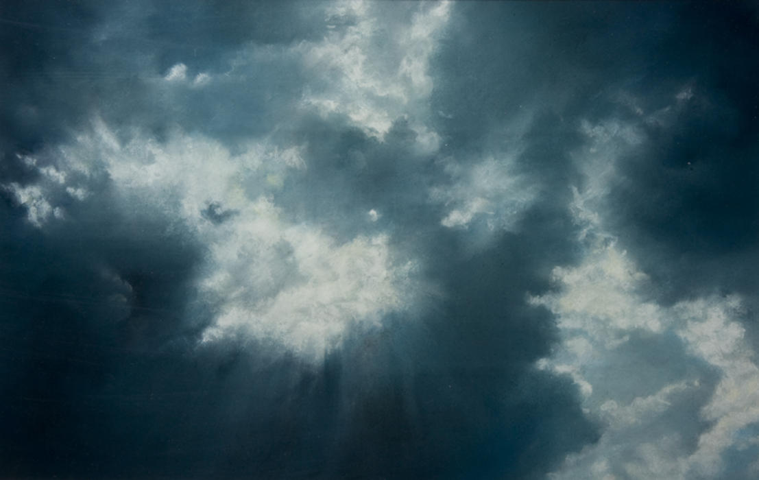 """""""Skyscape 6/29/09,"""" 2009, pastel on sanded paper. 3 x 5 inches."""